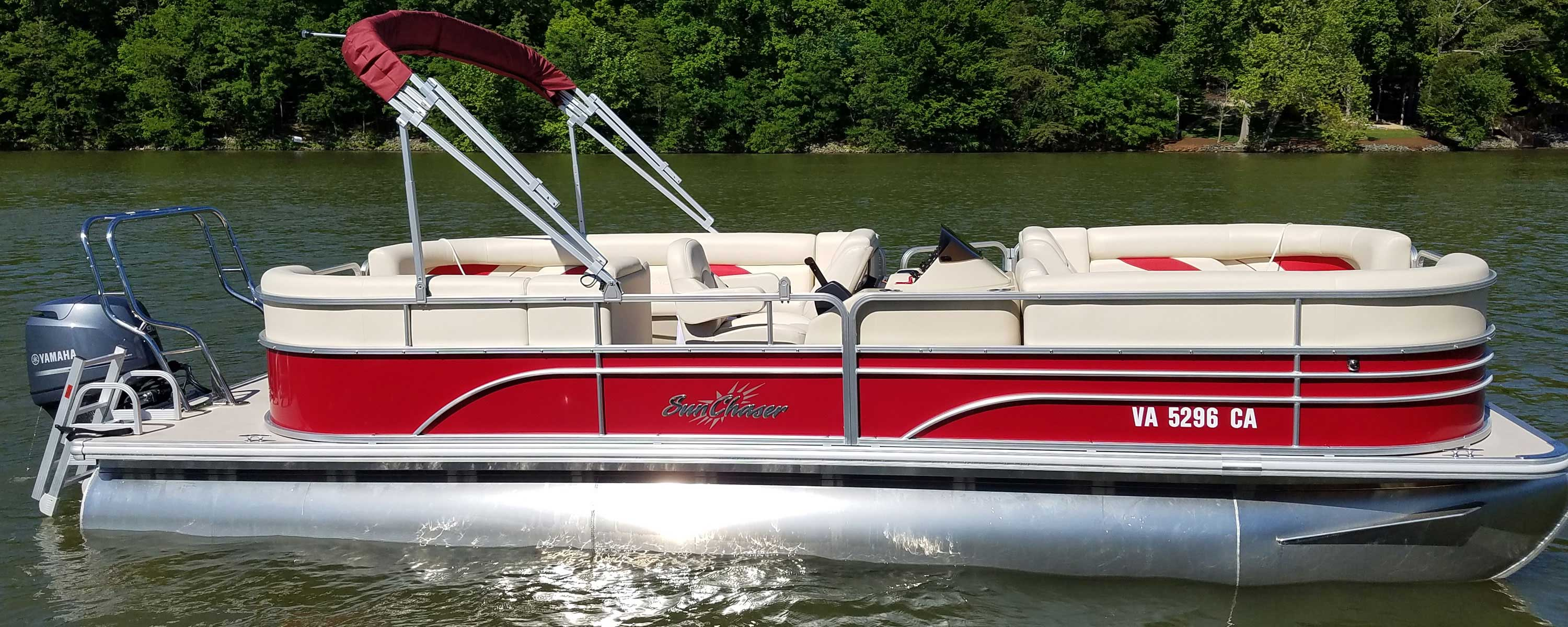 Empty red & white party pontoon boat in Smith Mountain Lake