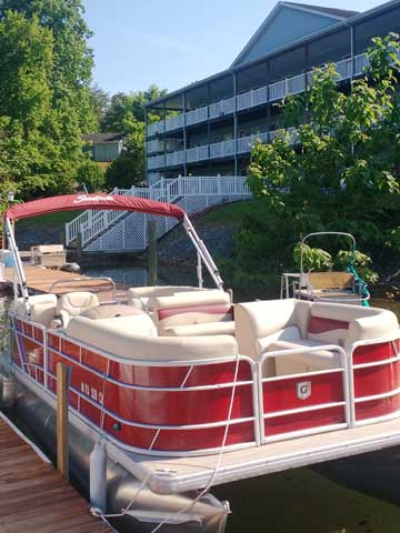 24 foot Sunchase pontoon in red viewed from the back